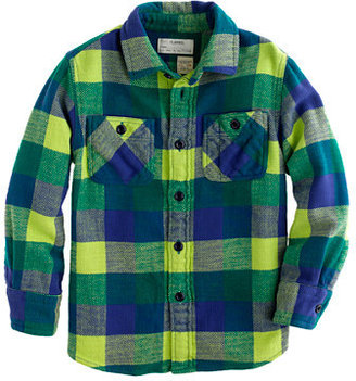 J.Crew Boys' cotton twill flannel shirt in neon kiwi check