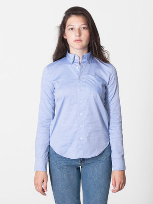 Oxford Unisex Pinpoint Long Sleeve Button-Down with Pocket