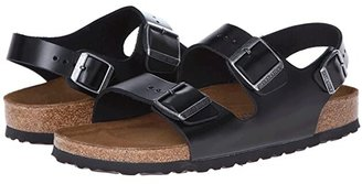 Birkenstock Milano - Leather Soft Footbed (Unisex) (Black Amalfi Leather) Sandals