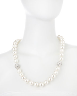 Kenneth Jay Lane CZ by Extendable Faux Pearl Necklace