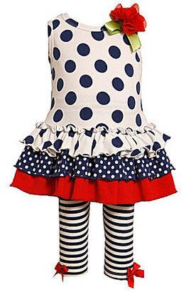 Bonnie Baby Newborn Dots & Stripes Dress & Leggings Set