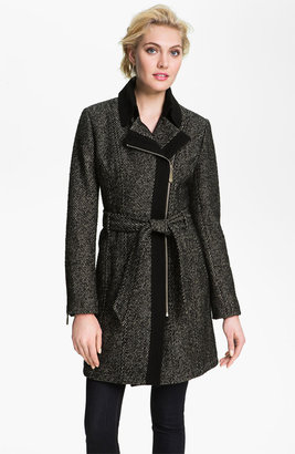 Vince Camuto Asymmetrical Zip Tweed Trench Coat