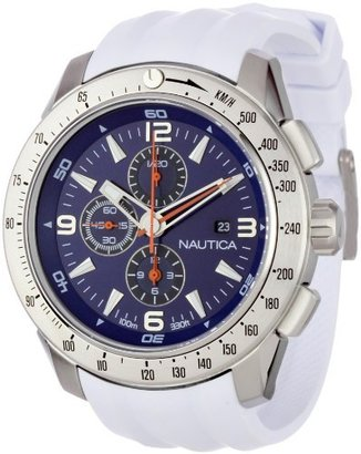 Nautica Men's N17593G NST 101 White Resin Blue Dial Watch