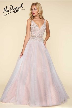 Mac Duggal Ballgowns - 65705 V Neck Gown In Ivory/Nude