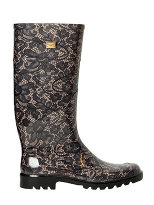 Dolce & Gabbana 20mm Lace Printed Rubber Rain Boots