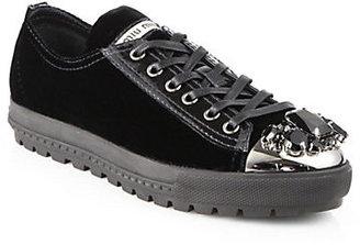 Miu Miu Velvet & Crystal Sneakers