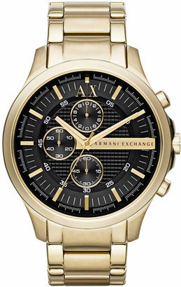 AX Armani Exchange Men's Gold-Tone Stainless Steel Bracelet Watch 46mm AX2137 $210 thestylecure.com