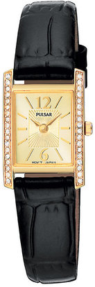 Pulsar Watch, Women's Black Leather Strap PEGC54