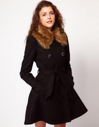Vero Moda Faux Fur Collar Full Skirt Belted Coat