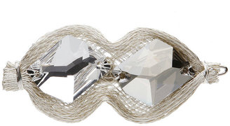Colette Malouf Rock Crystal Groovy Mesh Snap Clip, Silver 1 ea