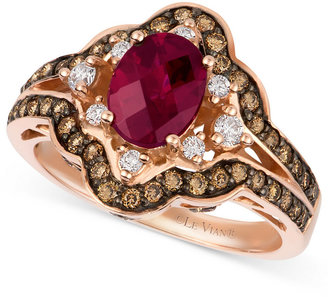 LeVian Le Vian® Raspberry Rhodolite® Garnet (1-3/8 ct. t.w.), Diamond and Chocolate Diamond (3/4 ct. t.w.) Oval Ring in 14k Rose Gold