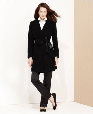 Larry Levine Coat, Faux-Leather-Belted Wrap
