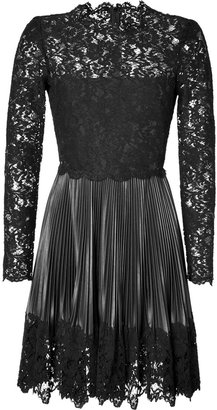 Valentino Leather Pleated Dress with Lace Top