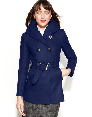 Nine West Double-Breasted Wool-Blend Belted Pea Coat