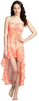 Steve Madden neon orange and pink printed high low coverup dress