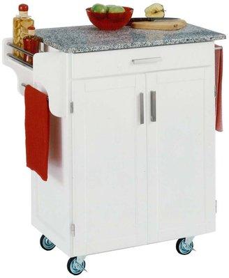 Home Styles Granite-Top Cuisine White Kitchen Cart