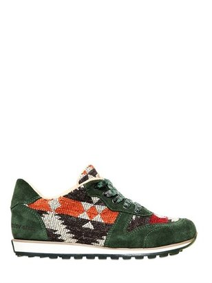 Recycled Wool And Suede Running Sneakers
