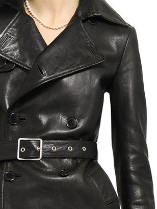 Saint Laurent Double Breasted Soft Leather Trench Coat