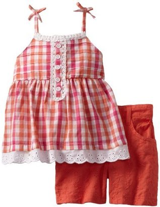 Nannette Baby-girls Infant 2 Piece Woven Top and Short Set