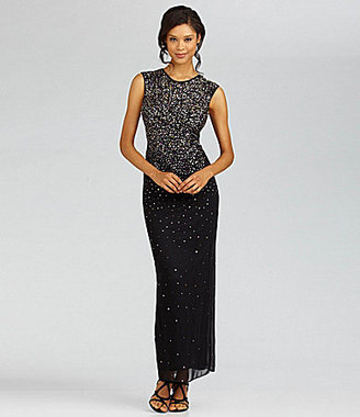 Betsy & Adam Cap-Sleeve Ombre Gown