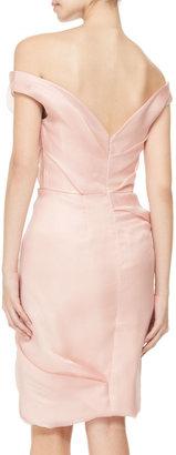 Lela Rose Draped Off-Shoulder Dress