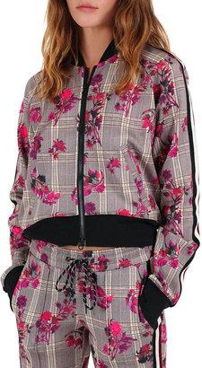 Pam & Gela Floral Plaid Cropped Track Jacket