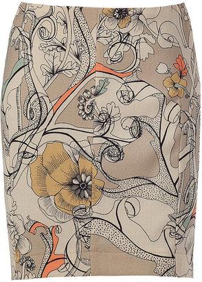 Cacharel Beige floral print mini-skirt