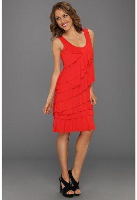 Calvin Klein Sleeveless Ruffle Tiered Dress (Poppy) - Apparel