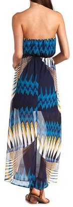 Charlotte Russe Art Deco Print Strapless Maxi Dress