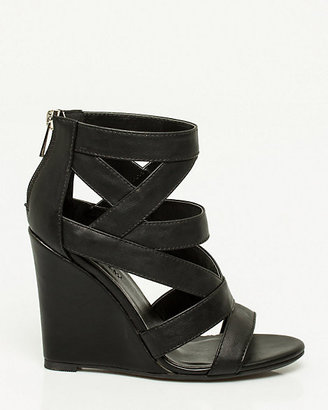 Le Château Faux Leather Caged Wedge