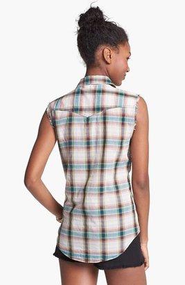 Rubbish Fringe Plaid Sleeveless Shirt (Juniors)
