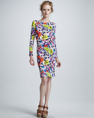 Alice + Olivia Tabitha Floral-Print Long-Sleeve Dress