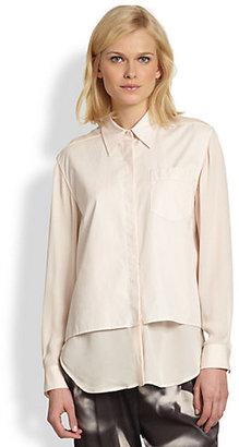 3.1 Phillip Lim Cotton Layered-Panel Stretch Silk Shirt