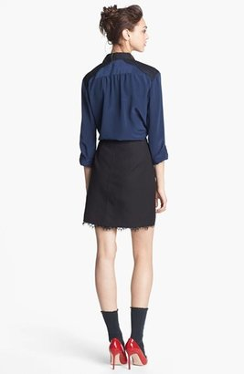 Nordstrom Miss Wu Lace & Crêpe de Chine Blouse Exclusive)