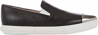 Miu Miu Women's Metal-Cap-Toe Leather Sneakers - Black