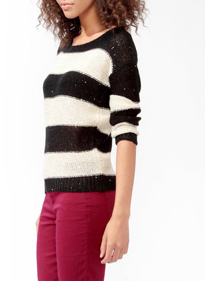 Forever 21 Striped Ditsy Sequins Sweater