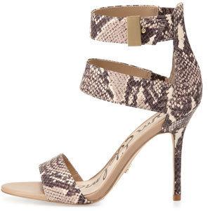 Sam Edelman Addie Snake-Print Ankle Wrap Sandal