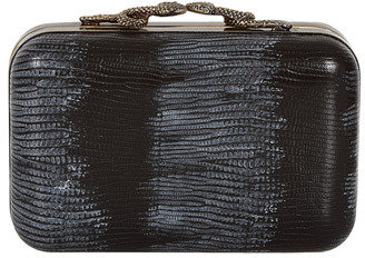 House Of Harlow Handbags Marley Lizard Print Clutch in Black