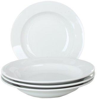 Bia Cordon Blue Cordon Bleu - 10 oz. Bistro Rim Soup Plate - Set of 4 (White) - Home