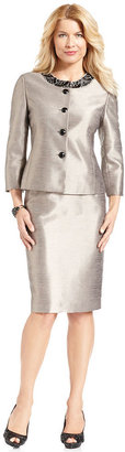 Kasper Suit, Three-Quarter-Sleeve Jewel Jacket & Skirt
