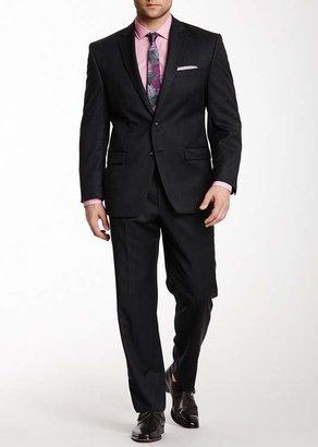 Calvin Klein Grey Sharkskin Two Button Notch Lapel Wool Suit