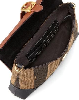 Fendi Pequin Flap-Top Crossbody Bag, Tobacco/Black