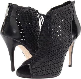 DKNY Anna Peep Toe Bootie (Black Perf Woven Leather) - Footwear