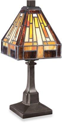 Quoizel Mini Tiffany 1-Light Portable Table Lamp in Vintage Bronze