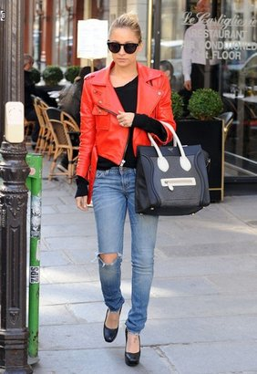 Simone Red Leather Biker Jacket as seen on Nicole Richie - by