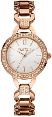 Caravelle New York by Bulova Women's Crystal Accent Rose Gold-Tone Stainless Steel Bracelet Watch 28mm 44L163 $120 thestylecure.com