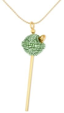 Simone I. Smith 18K Gold over Sterling Silver Necklace, Medium Lime Green Crystal Lollipop Pendant