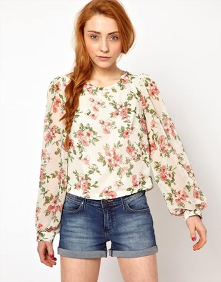 The Style Floral Blouse With Zip Back
