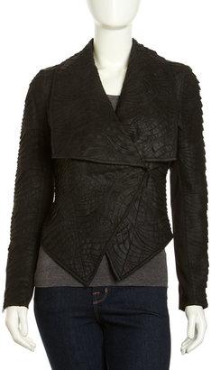 Neiman Marcus Chale Cutout Leather Jacket, Black