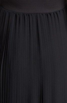 Blaque Label Faux Leather & Pleat Chiffon Maxi Dress